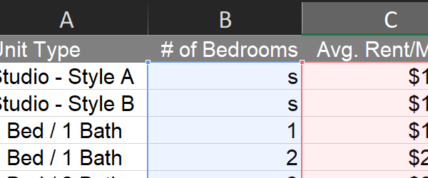 Using SUMPRODUCT and SUMIF to do quick analysis of an apartment unit mix