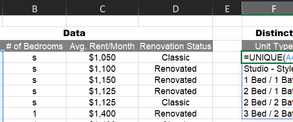Using the UNIQUE function to generate an apartment unit mix summary from a rent roll
